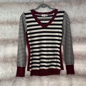 Pink Rose XL Striped V Neck Sweater